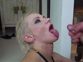 Short haired mature amateur blonde MILF swallows a huge load