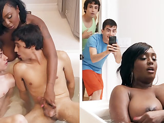 Black stepmom acquiring double-teamed wits her stepsons