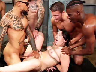Bound ill-lit enjoys her very first interracial gang-bang