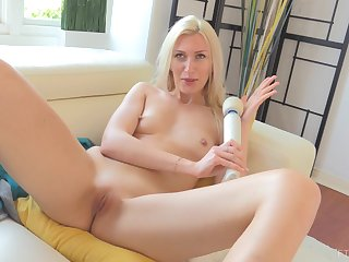 Blonde MILF Angelina makes herself cum around a vibrator on her clit
