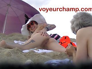VoyeurChamp.com - Exhibitionist Wife Mrs Ginary Bald Beach!