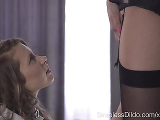 Naughty Blonde Student Aurelika Learns Strapless Dildo Lesso