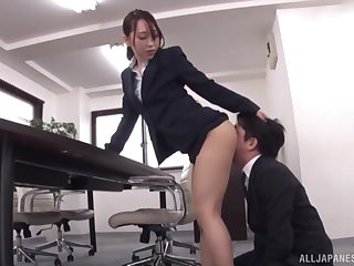 Japanese journo Kase Kanako gets cum chiefly her ears in nylons