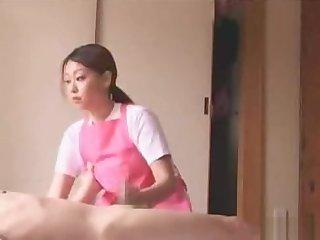 Japanese caregiver gives handjob and more
