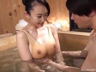Mori Hotaru seduces her boyfriend in inquire into before amazing blowjob