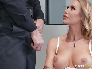 Pretty blonde woman with bubbly tits fucked by cocky policeman