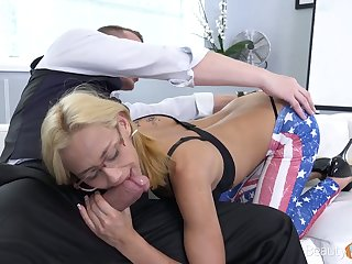 Vest-pocket blond chick Veronica Leal gets fucked and takes cumshots on say no to glasses