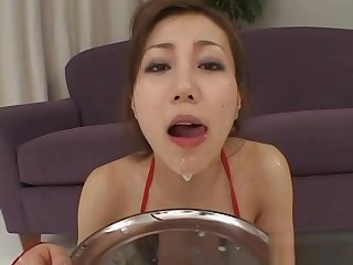 Bukkake cum shots on cuddly japanese kitten and fierce groupsex
