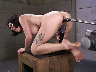Short haired brunette Olive Glass is search new sex machine increased by vibrator
