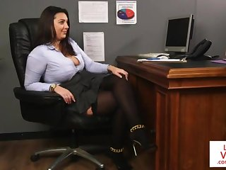 Office highly priced teaches slave fucking partner to masturbate