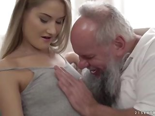 Nubile ultra-cutie vs older grandfather - Tiffany Tatum coupled with Albert