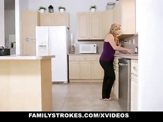 FamilyStrokes - Fond Step-Sister And Mother Tricked And Romped By StepBro