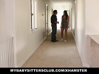 MyBabysittersClub - Cute Teen BabySitter Fucked Unconnected with Perv