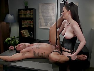 Dominant office lady treats her man in dirty modes