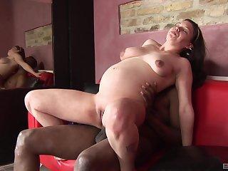 Convincing brunette masturbates before sex with her black lover