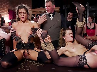 Both sluts receive a hot millstone of cum after intensive gangbang