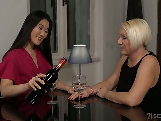 Horny mature bitch Katana has seduced fresh brunette for uncultivated sex