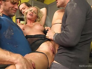 Gangbang with horny guys is something that Simone Sonay loves