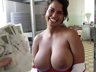 Hot cook with huge tits received to sex for money