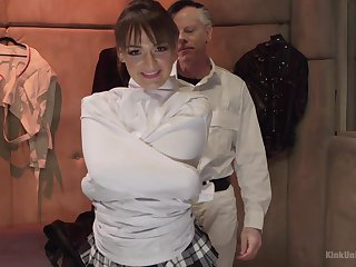 Dominant older dude ties up coupled with fucks Charlotte Cross unfamiliar behind
