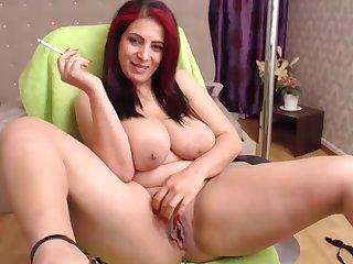 indecorous redhead housewife far big naturals - smoking webcam