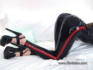 Wondrous naughty latex slut wanna brag off her juicy booty