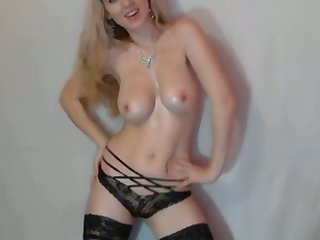 Shapely staggering looking blonde has a positive attitude towards camming