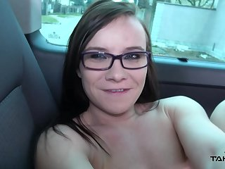 Amateur darling Wendy take glasses fucked in the back of the van