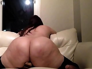 Heavy Butt Brunette In Stockings