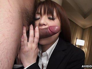 Horny dude fucks half denude Asian widely applicable Kimoko Tsuji in ripped pantyhose