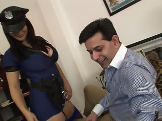 Busty female cop ends up sloppy her pussy with the chubby dick