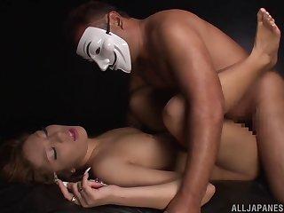 Shy guy upon a befog slides his Hawkshaw in Japanese model Karen Uehara
